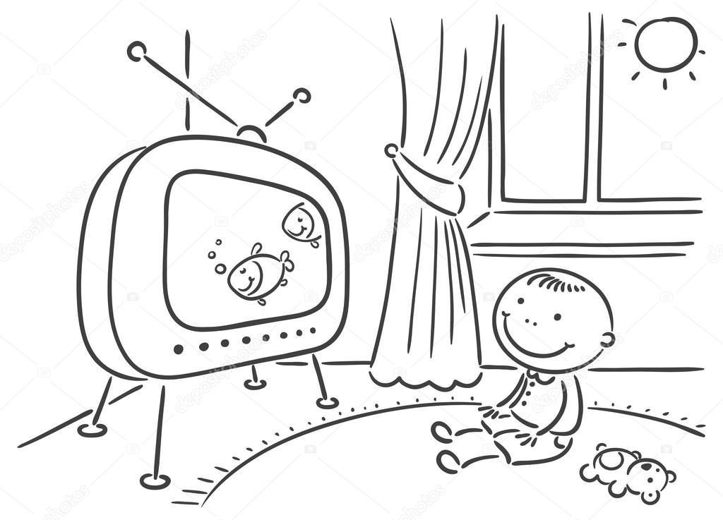 watching tv coloring pages clipart panda free clipart images watching tv coloring pages
