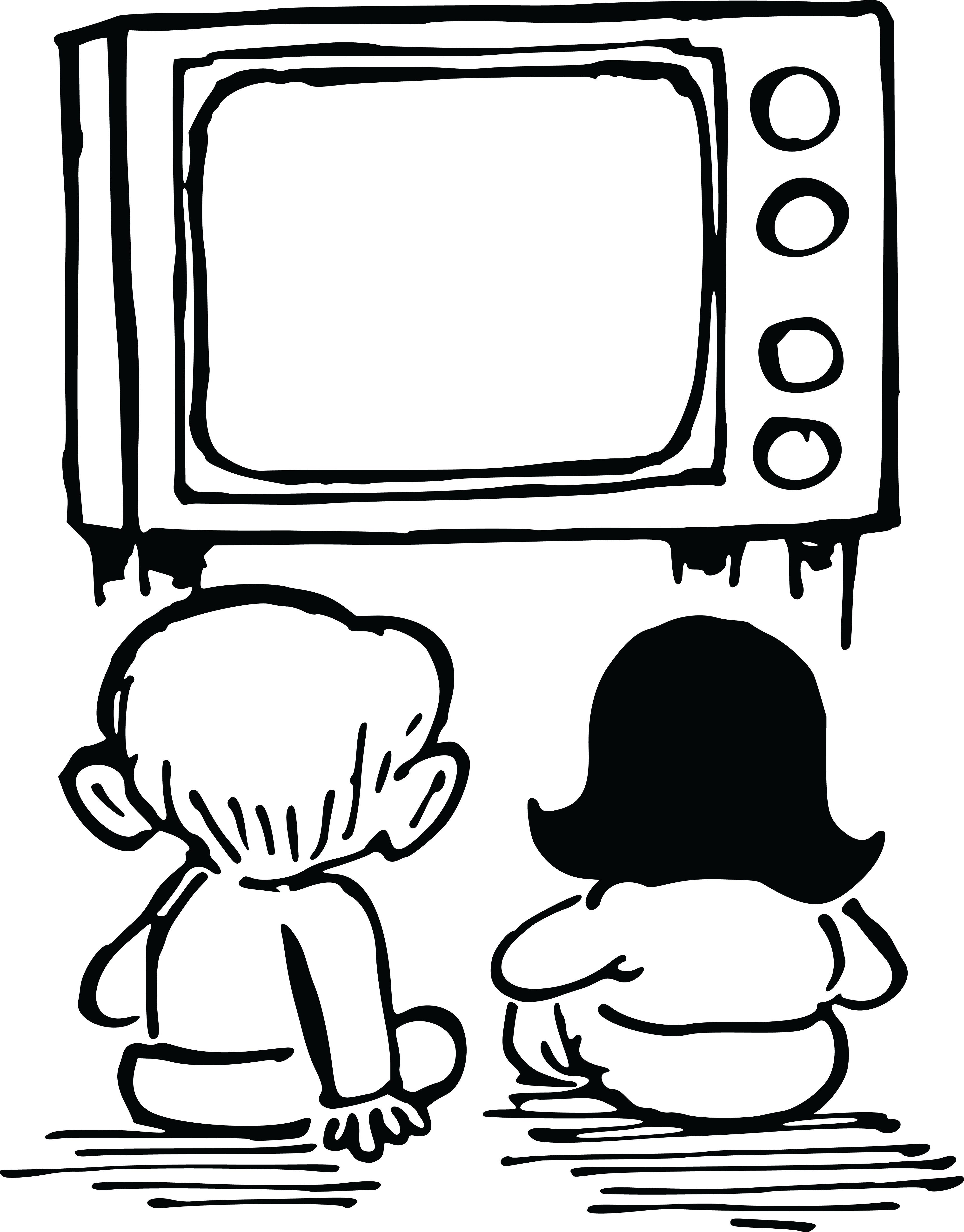 watching tv coloring pages pictures of kids watching tv clipartsco coloring tv watching pages