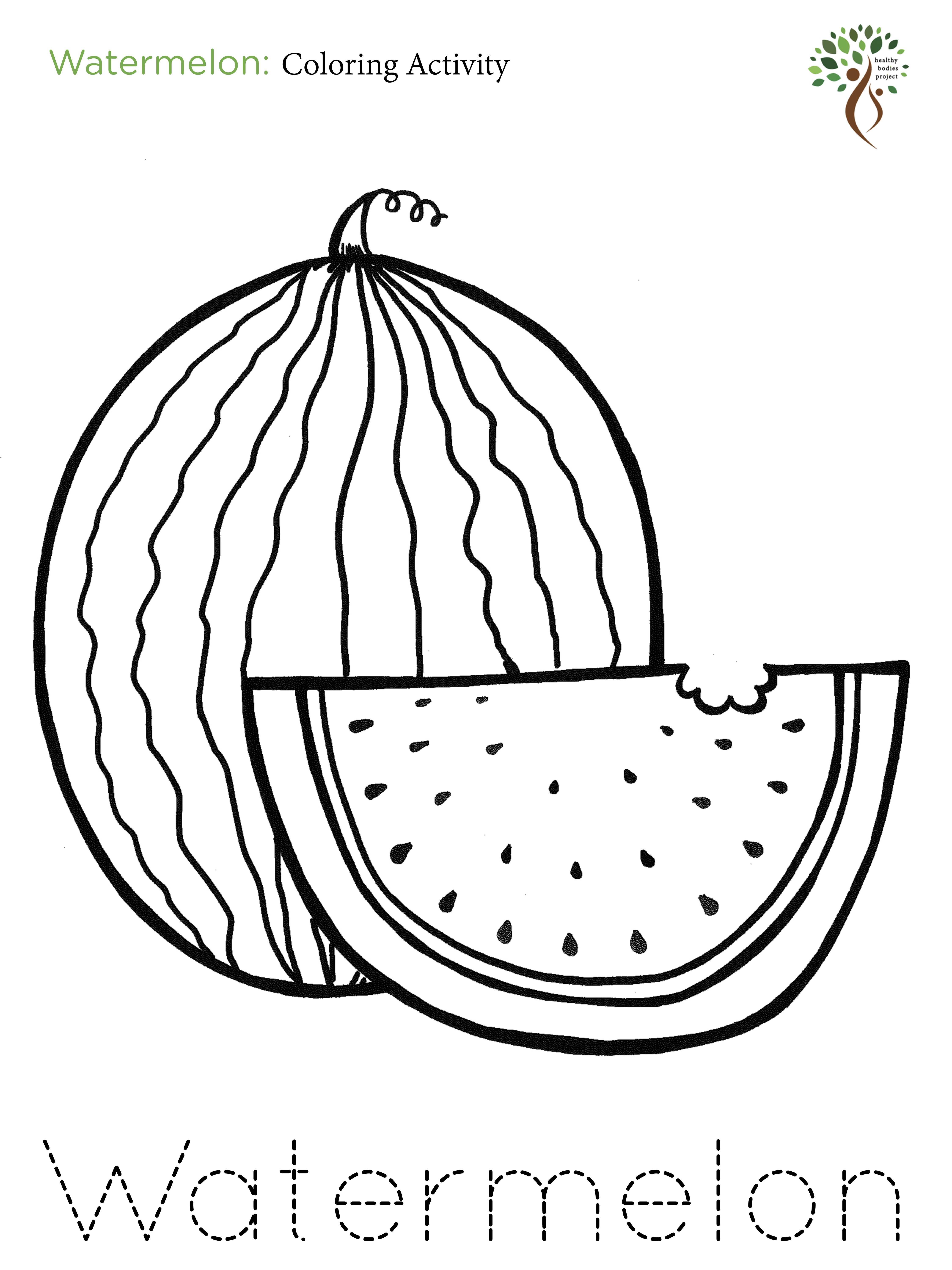 watermelon for coloring a z coloring activities healthy bodies project watermelon for coloring