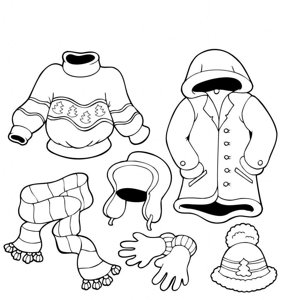 winter clothes colouring pages winter clothes coloring page pre k pinterest pages winter clothes colouring
