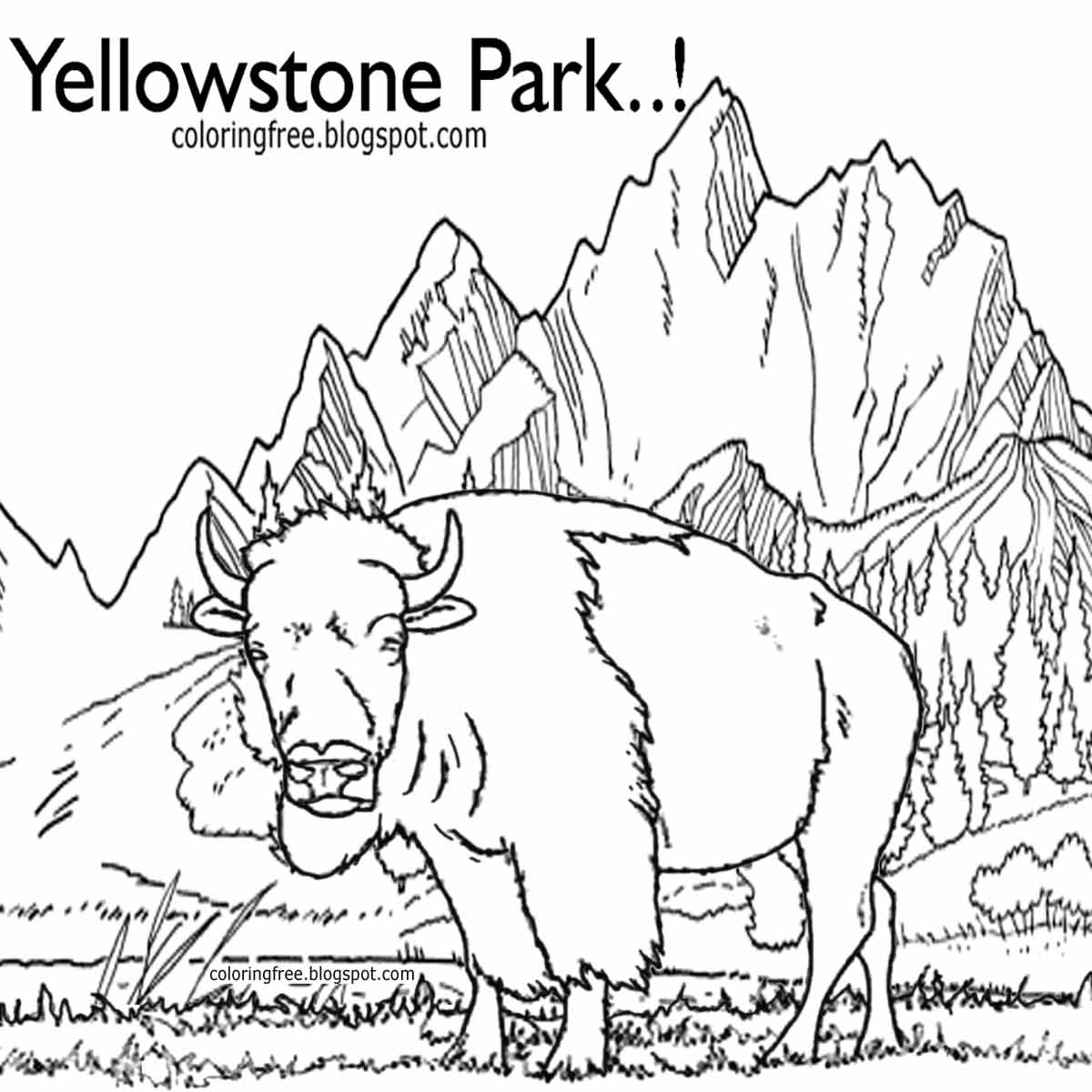 yellowstone national park coloring pages printable yellowstone park coloring american wildlife kids park yellowstone coloring national pages