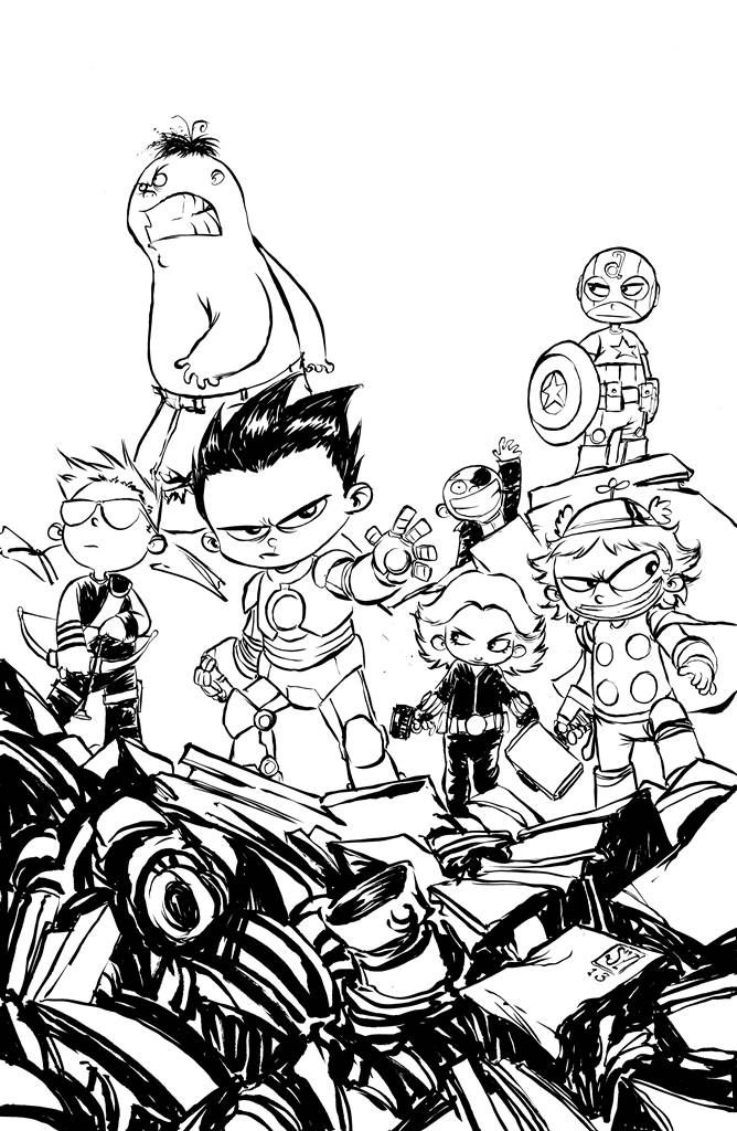young marvel coloring pages marvel universe avengers assemble 1 skottie young sketch coloring pages young marvel