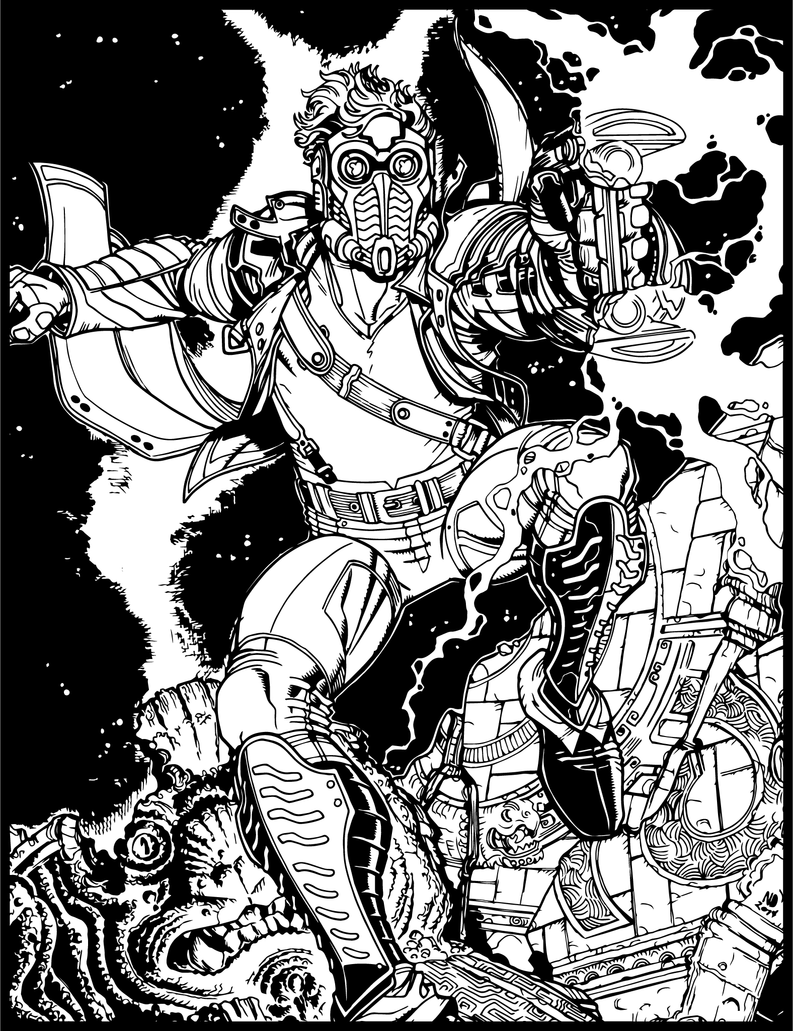 young marvel coloring pages rocket raccoon groot and tellos by skottie young todays young coloring pages marvel