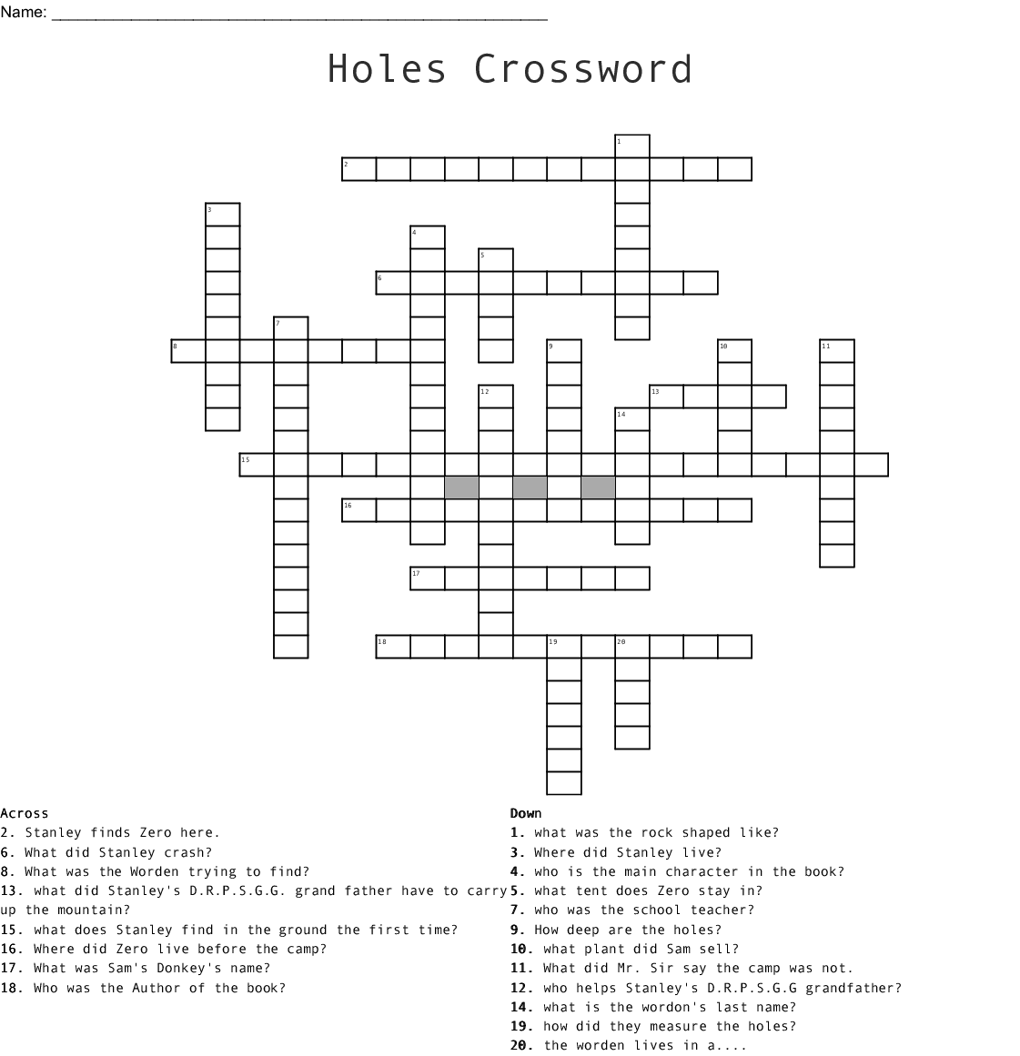 zigzag word search puzzles holes bylouis sachar crossword wordmint puzzles zigzag search word