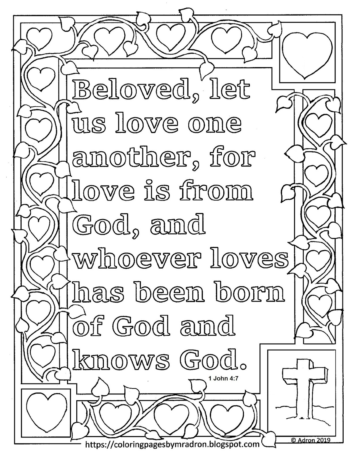 1 john 4 19 coloring page coloring pages for kids by mr adron free 1 john 47 19 4 john page 1 coloring