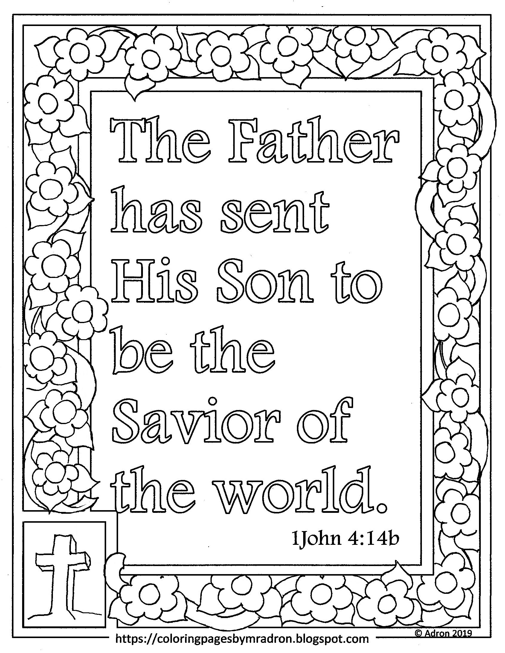 1 john 4 19 coloring page free 1 john 414 print and color page the father has sent 1 page john coloring 19 4