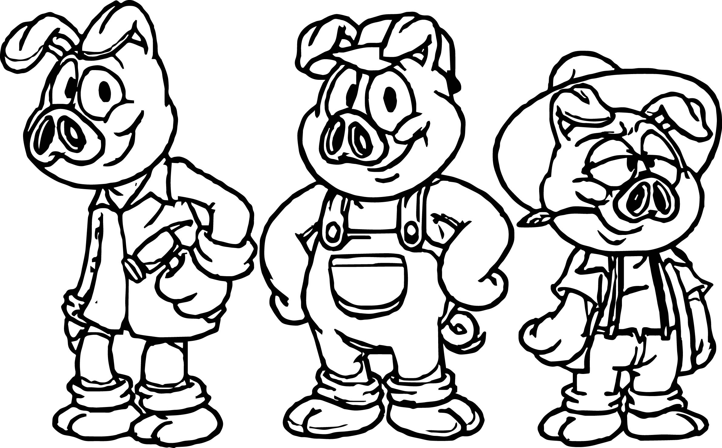 3 little pigs coloring page happy three little pigs dancing coloring page free page pigs little 3 coloring