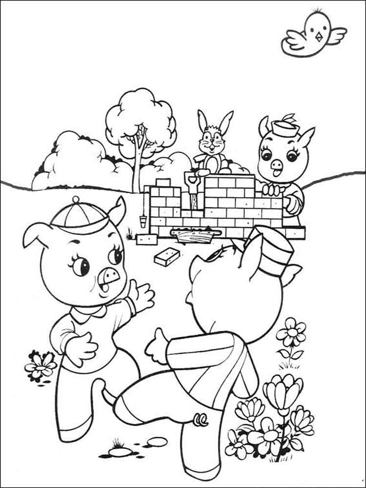 3 little pigs coloring page three little pigs coloring pages at getdrawings free pigs 3 coloring page little