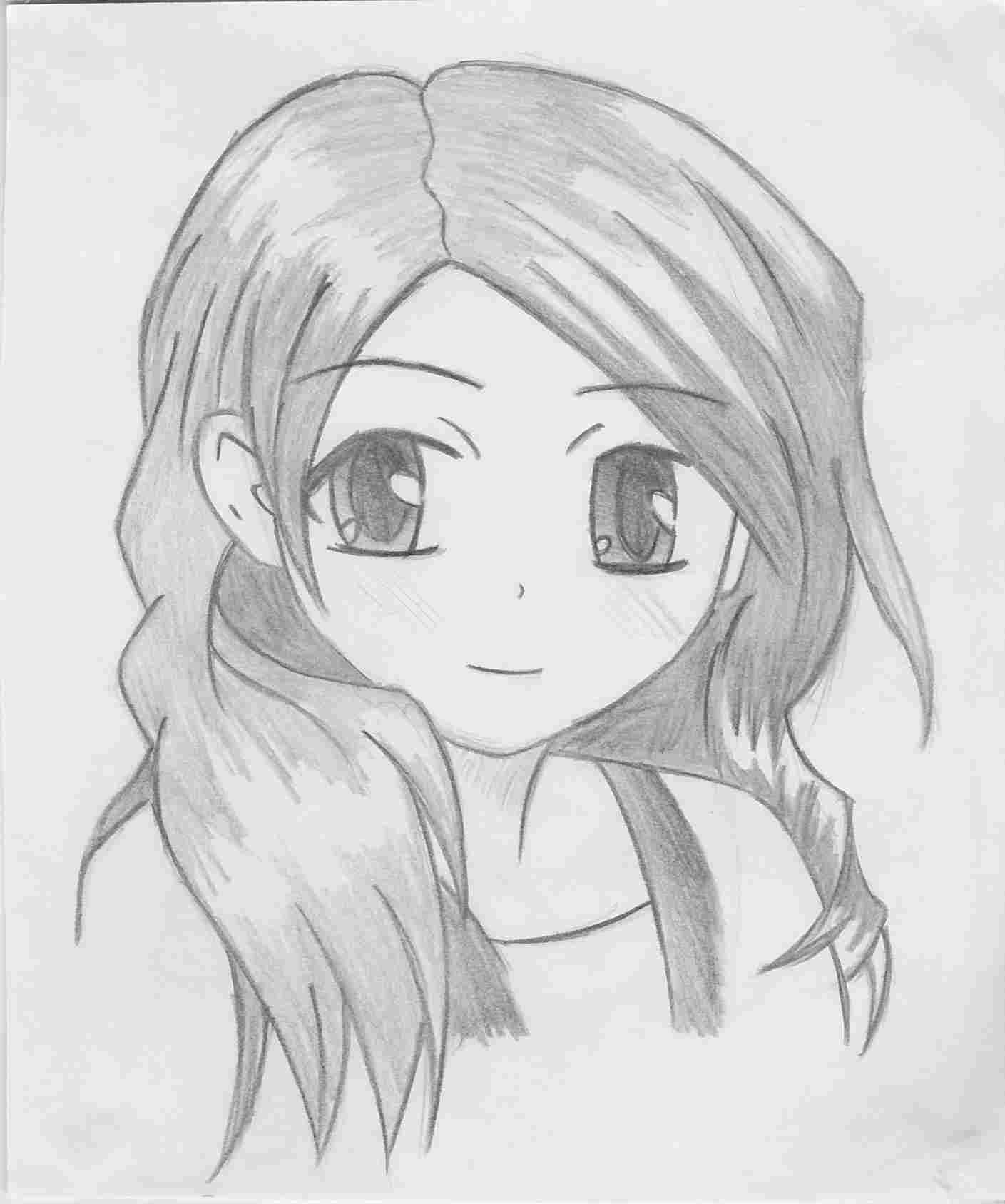 anime girl easy to draw cute anime drawings at paintingvalleycom explore easy draw girl to anime