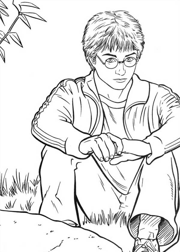 anime harry potter coloring pages harry potter is sitting on the park coloring page netart potter pages anime coloring harry