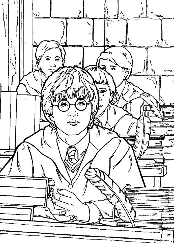 anime harry potter coloring pages harry potter is studying coloring page netart coloring pages harry anime potter