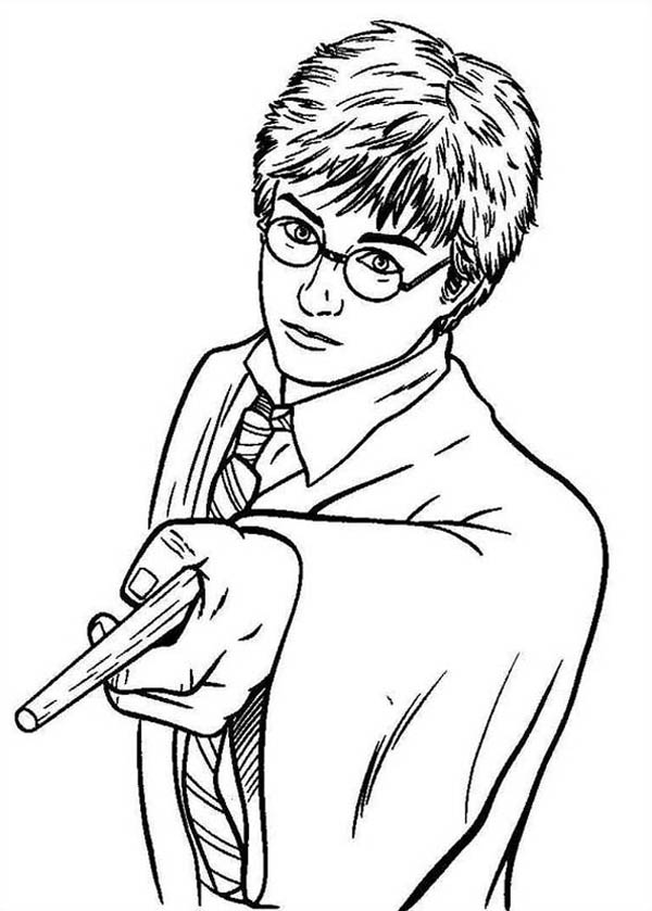 anime harry potter coloring pages harry potter pointing his magic wand coloring page netart pages coloring harry anime potter