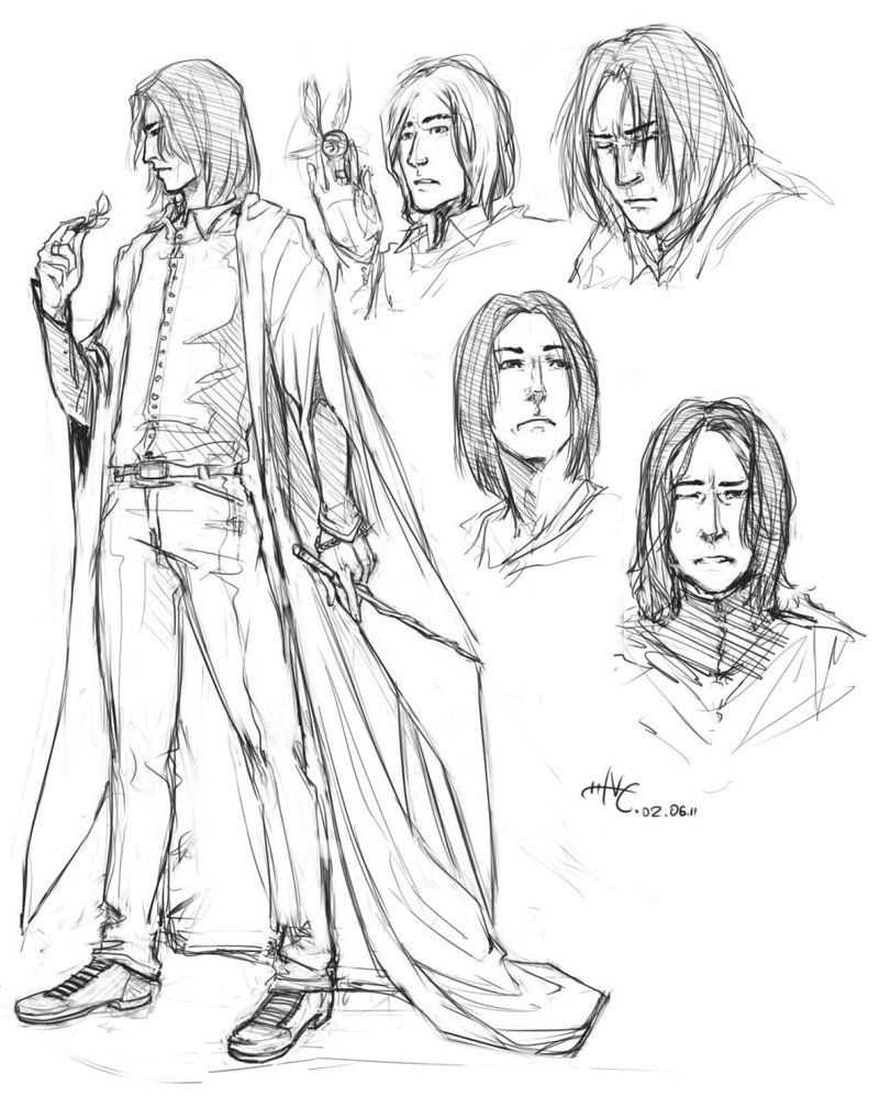 anime harry potter coloring pages severus snape drawings google paieška bocetos harry anime coloring potter pages
