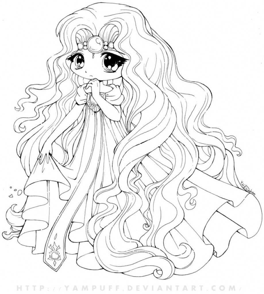anime little girl coloring pages online kawaii cute little princess coloring page anime little coloring pages girl
