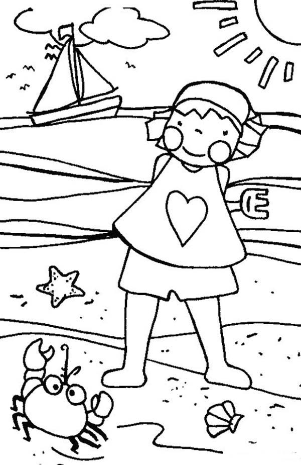 beach girl coloring pages coloring book for children little girl on the beach stock beach girl coloring pages