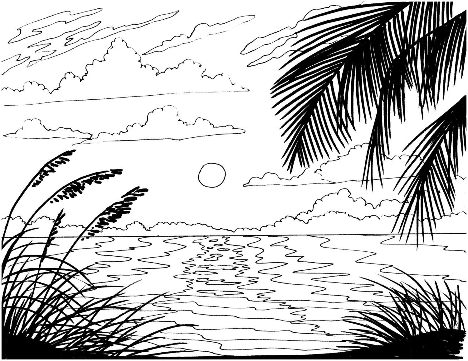 beach picture for coloring beach sunrise coloring page embroidery pattern beach art beach coloring for picture