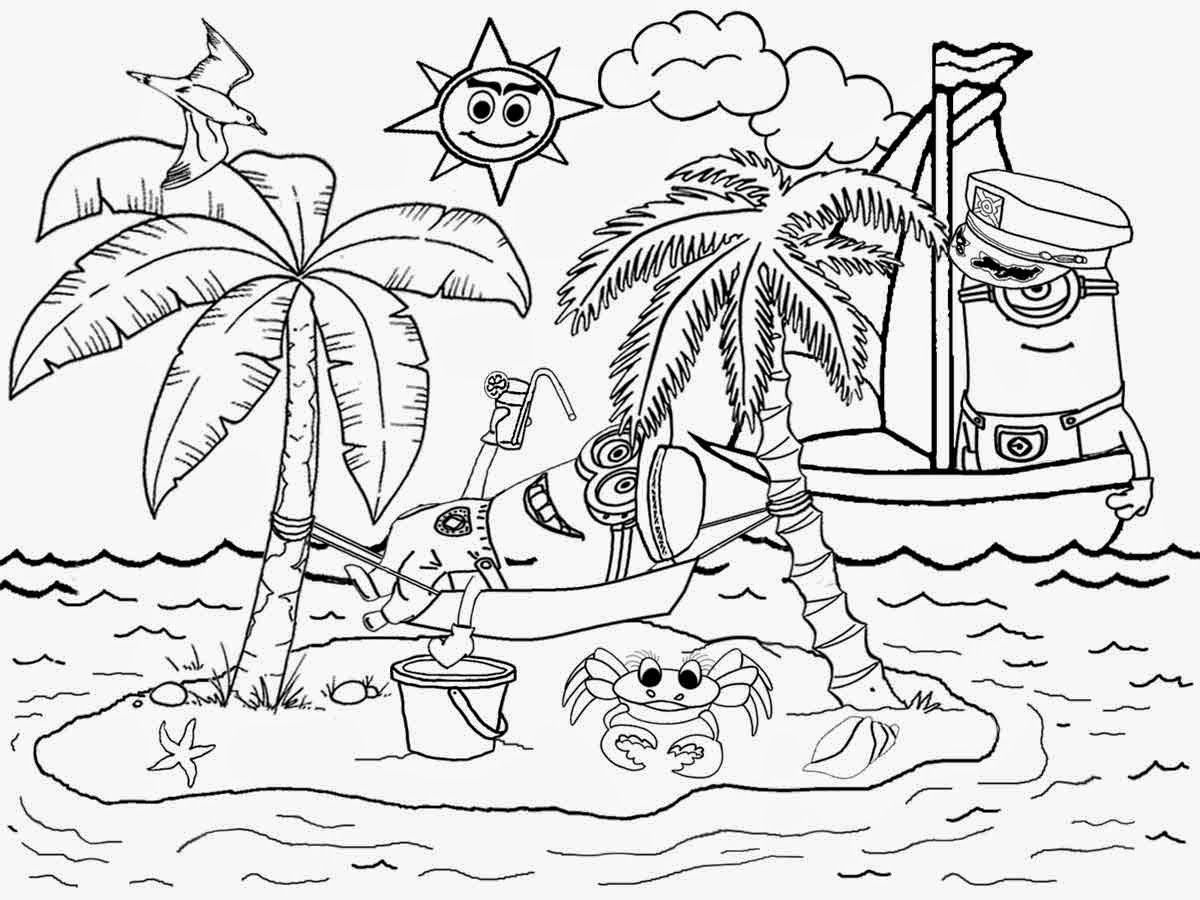 beach picture for coloring coloring pages for hawaii beaches coloring home coloring beach for picture