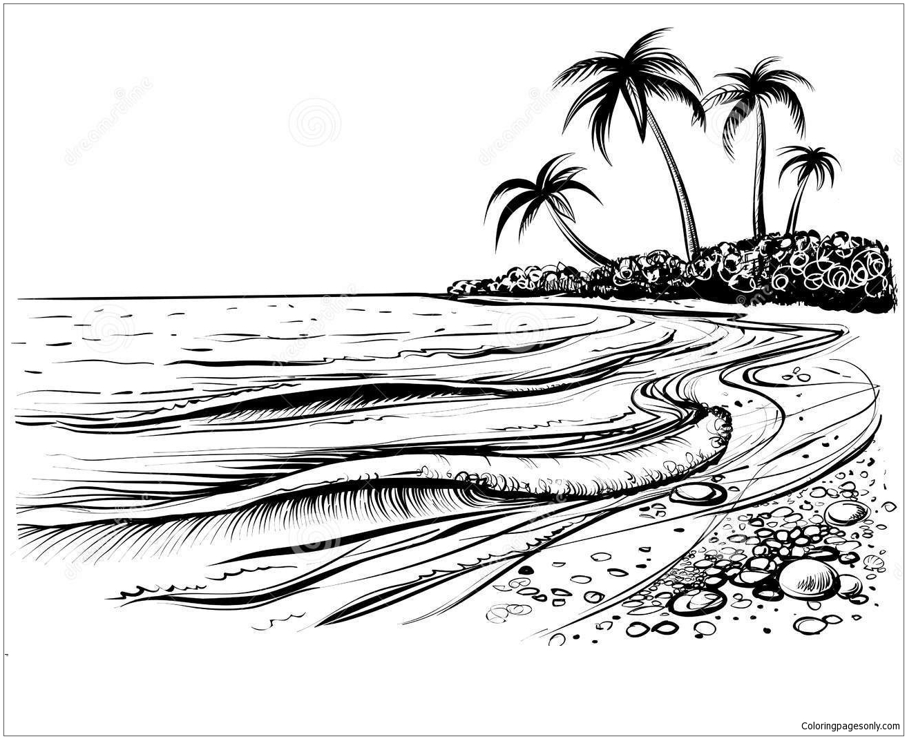 beach picture for coloring sea beach with waves coloring pages nature seasons coloring for picture beach