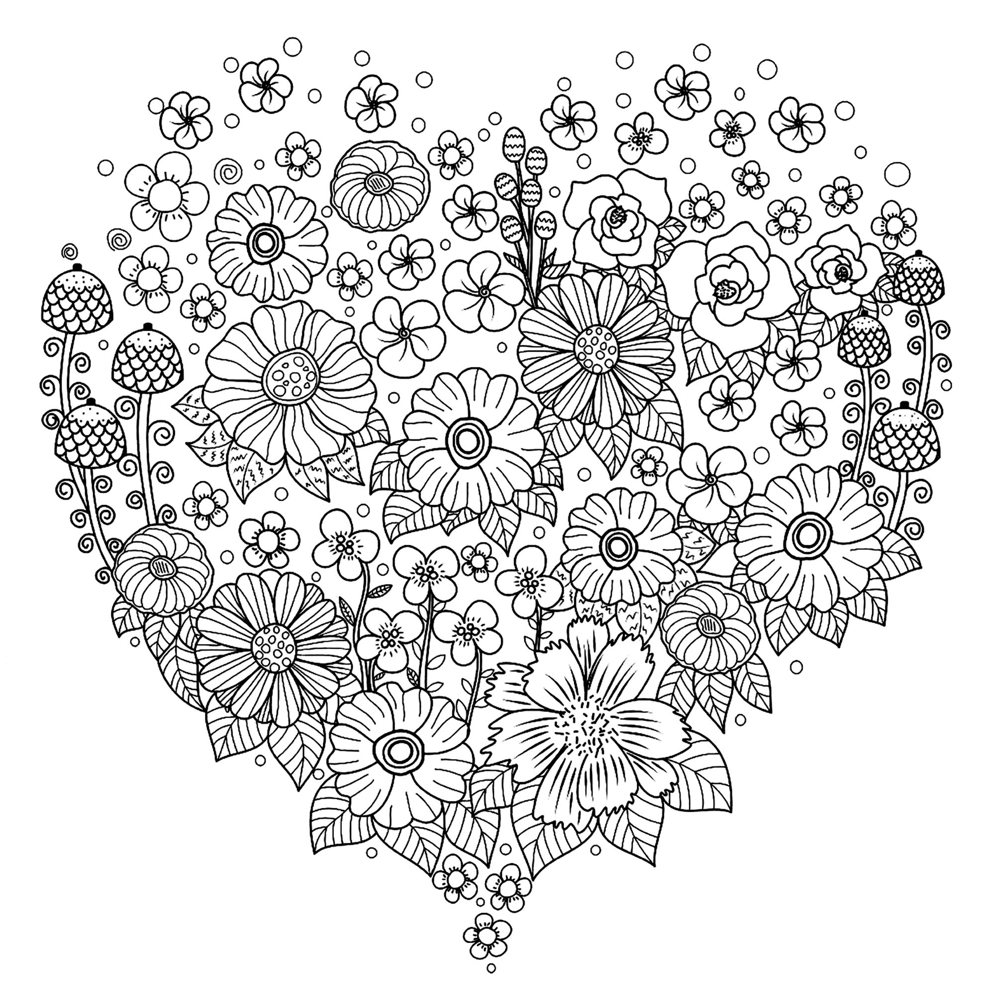 beautiful flower heart coloring pages beautiful roses and heart coloring page for kids flower flower heart pages coloring beautiful