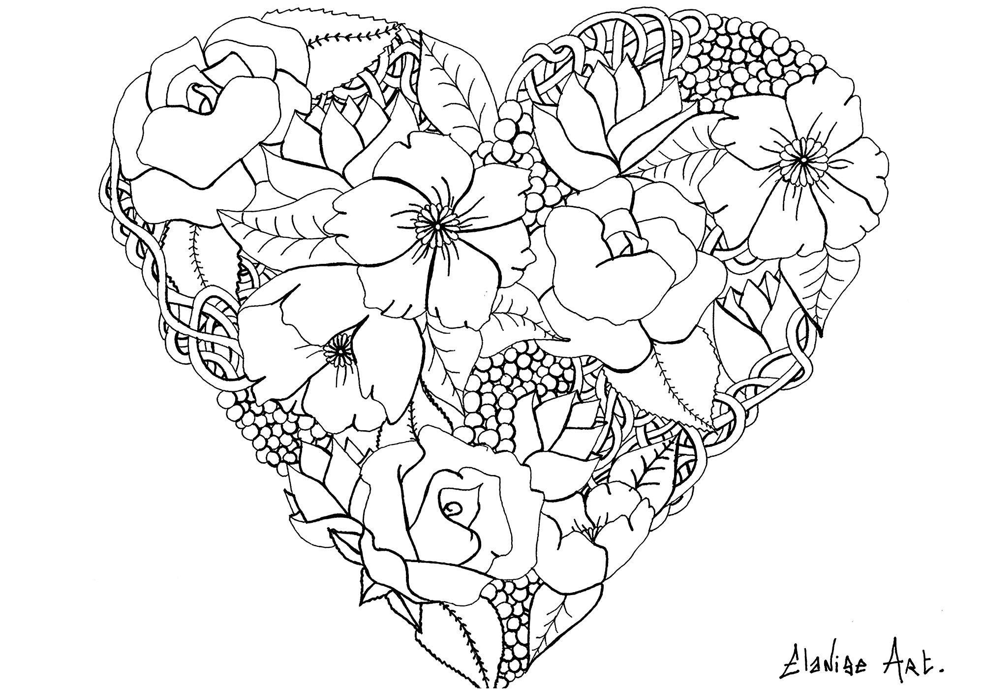 beautiful flower heart coloring pages flowers in a heart flowers adult coloring pages beautiful coloring flower heart pages
