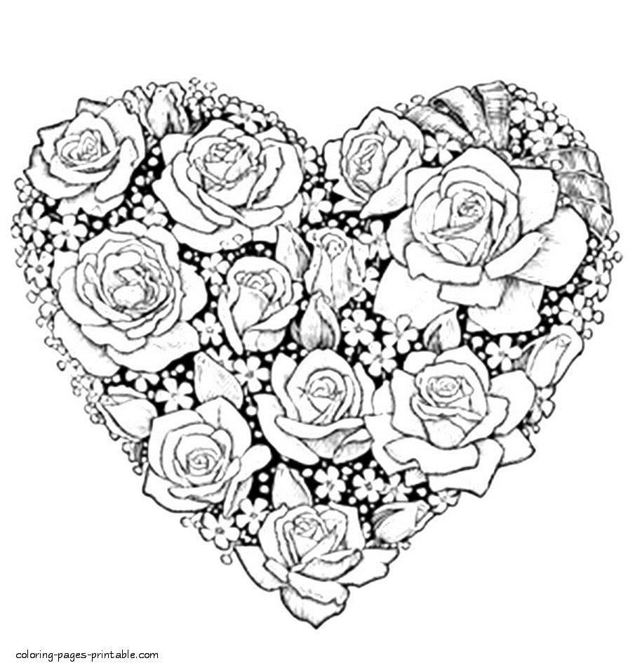 beautiful flower heart coloring pages make a beautiful fluffy hearts and flowers wreath for pages heart coloring flower beautiful