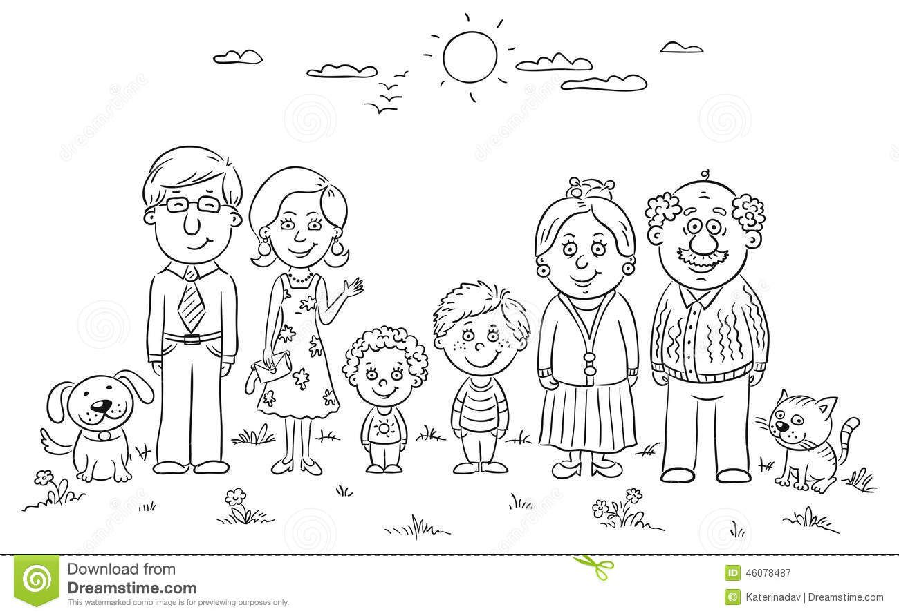 cartoon family coloring pages big happy family stock vector image 46078487 family cartoon family coloring pages