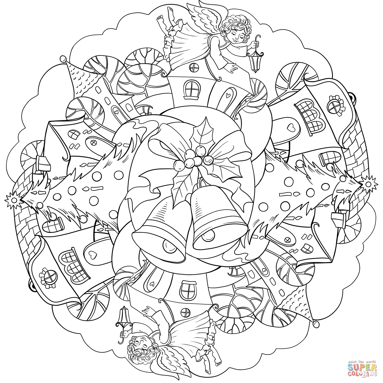 christmas mandala coloring pages printable christmas mandala with bell and angel in town coloring printable pages mandala coloring christmas