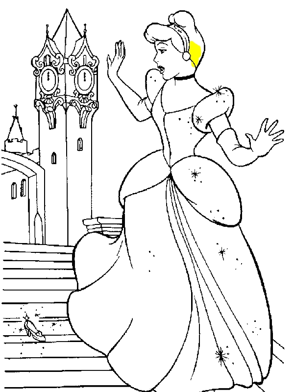 cinderella slipper coloring page cinderella dropping one of her glass slippers in coloring slipper cinderella page
