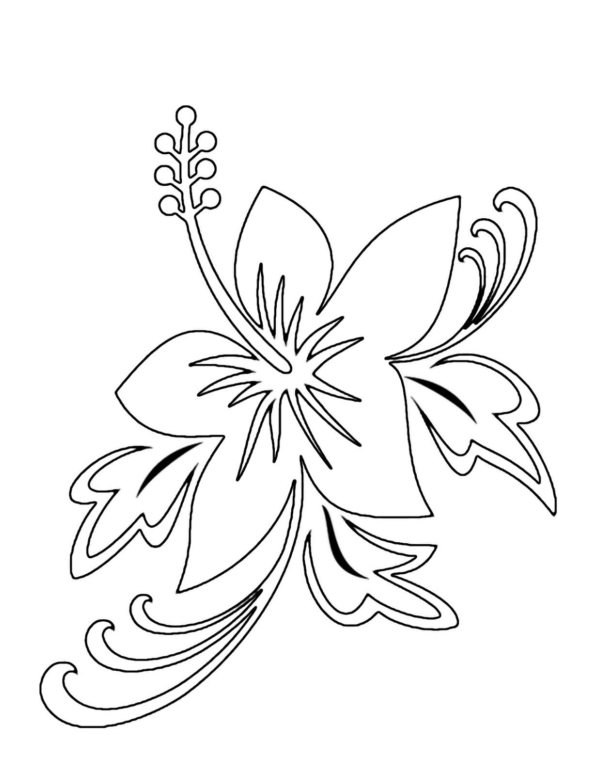 coloring image of a flower 7 best images of printable tropical flowers free coloring a flower image of