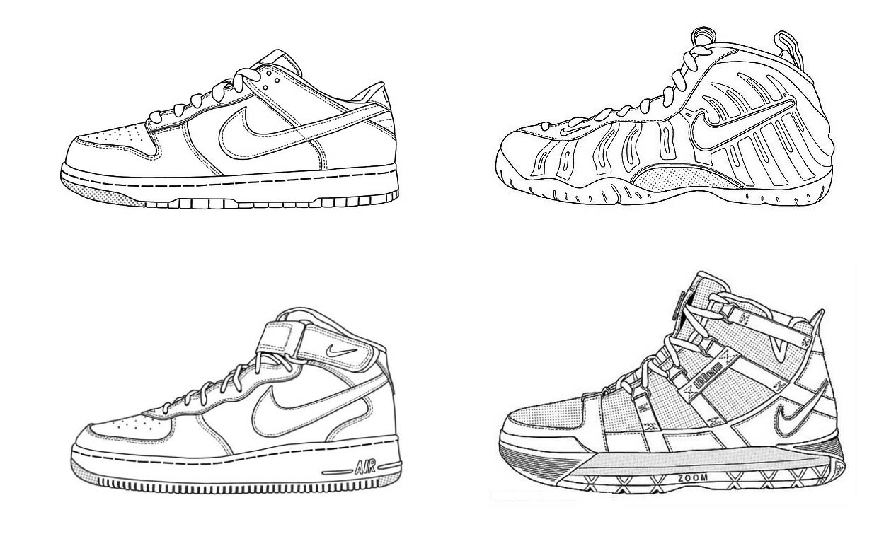 coloring nike shoes nike shoe drawing at getdrawings free download nike shoes coloring