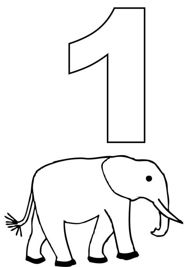 coloring number one number one and elephant coloring page netart number coloring one