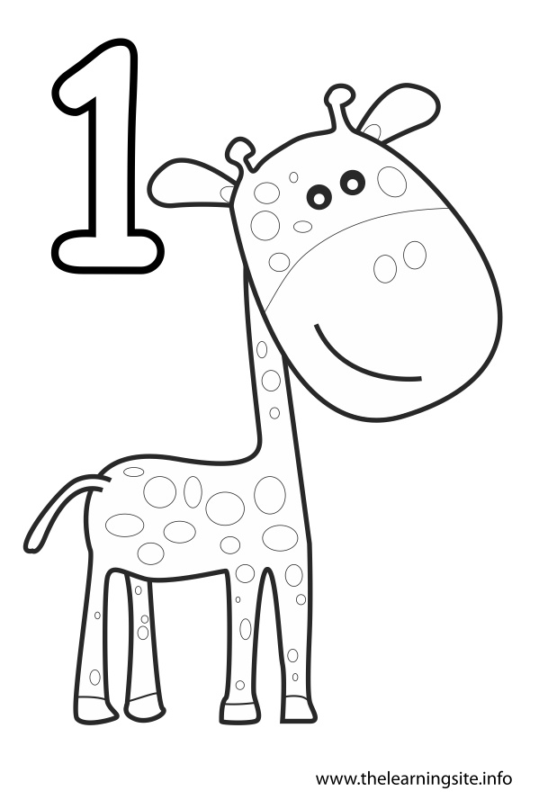 coloring number one number one flashcard 1 giraffe the learning site number one coloring