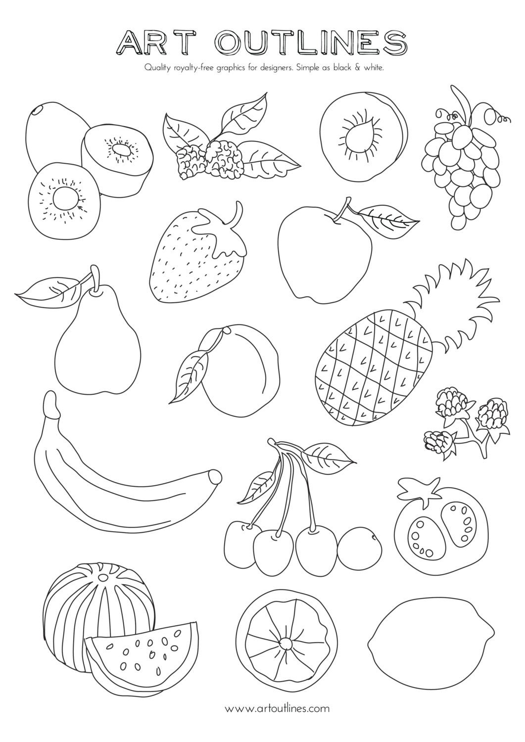 coloring outline fruits 219 best coloring fruits and vegetables images on coloring outline fruits