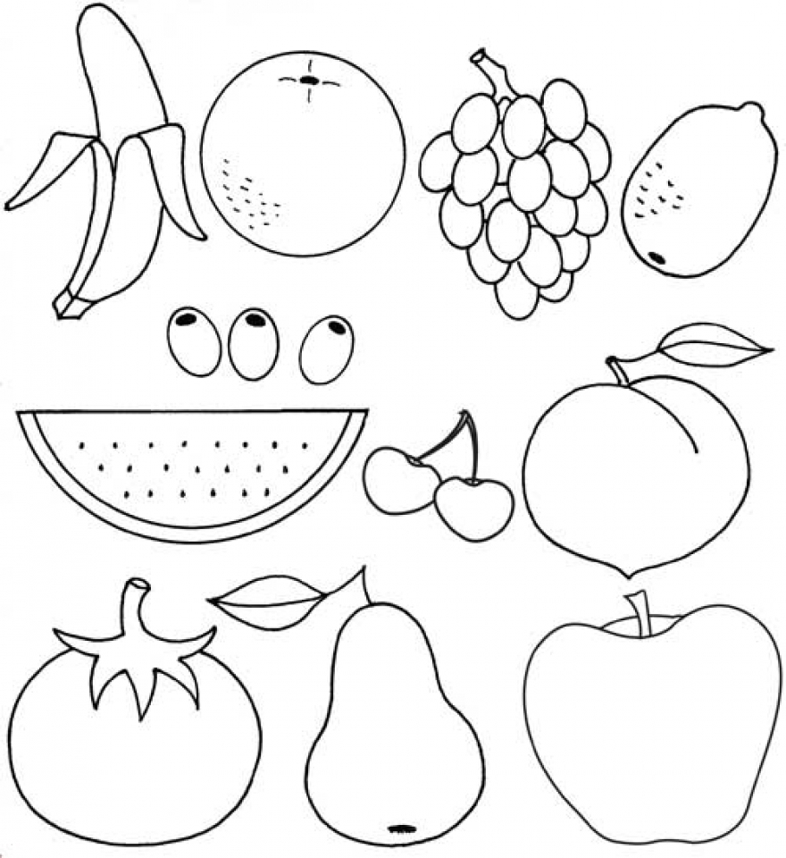 coloring outline fruits free printable fruit coloring pages for kids fruits coloring outline