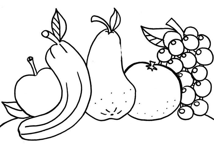 coloring outline fruits fruits outline picture clipart best outline fruits coloring
