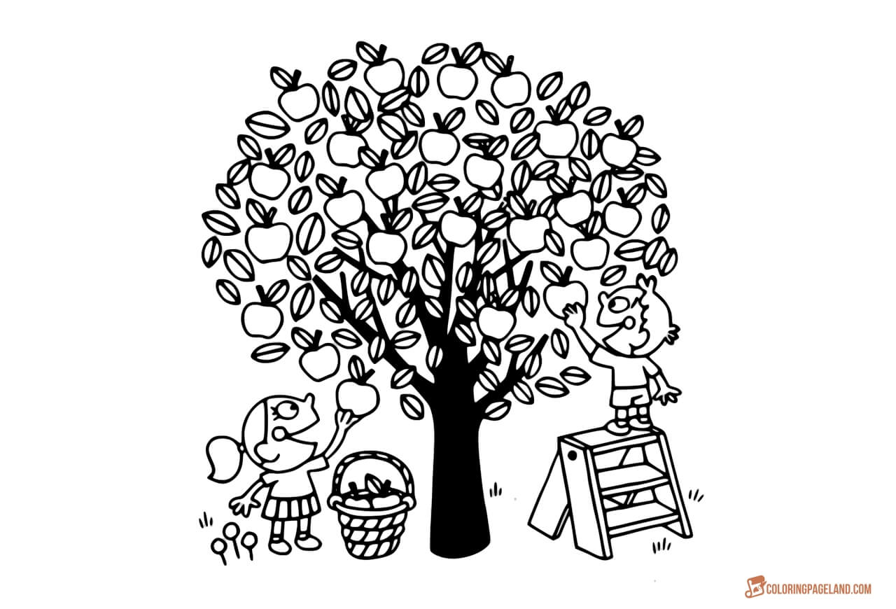 coloring page of apple tree apple tree coloring pages downloadable and printable apple page of coloring tree