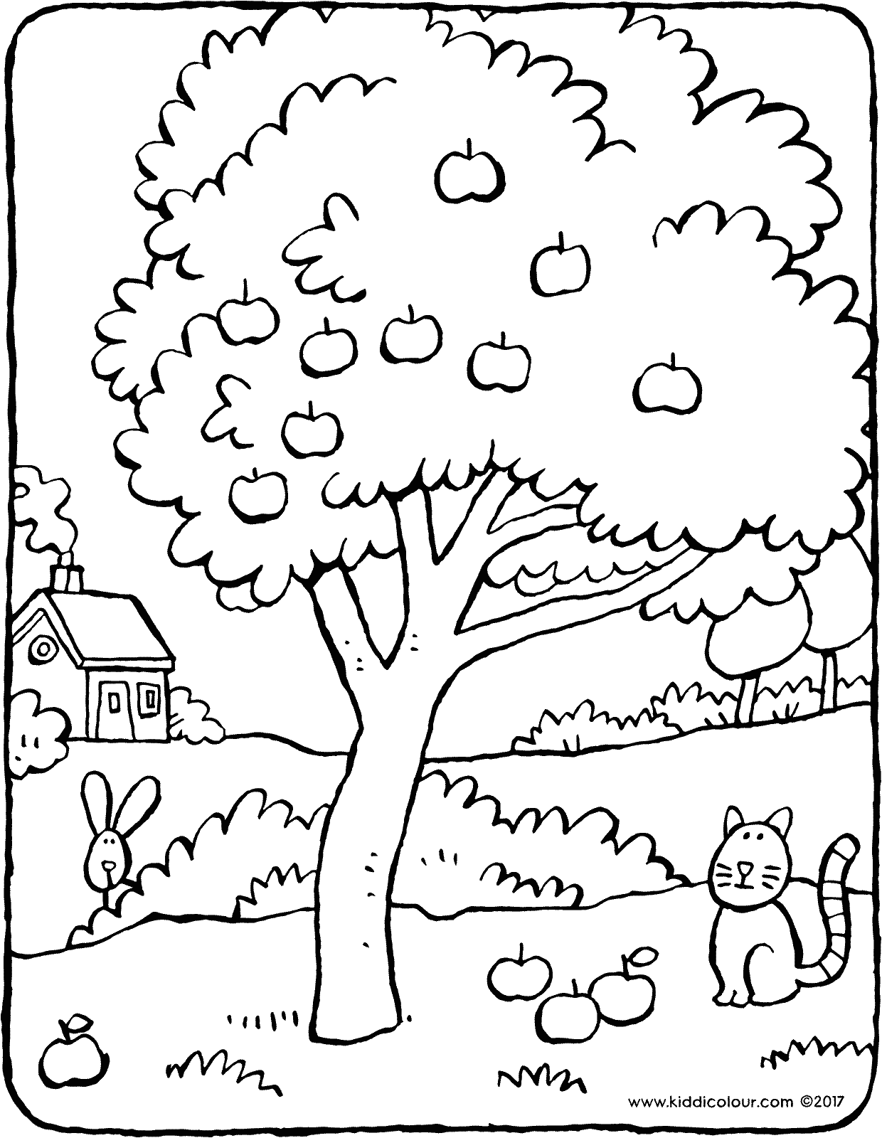 coloring page of apple tree apple tree kiddicolour of page apple tree coloring