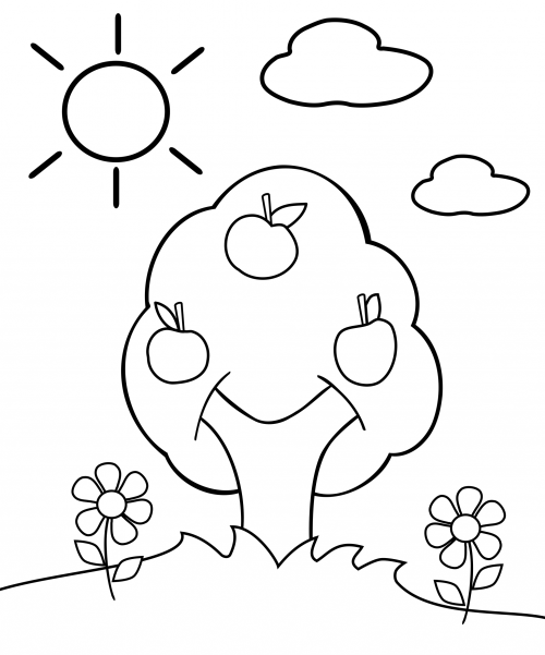 coloring page of apple tree preschool coloring page apple tree colores arnes y fotos of page apple coloring tree