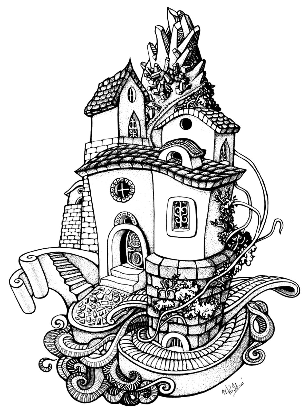 coloring pages houses architecture house rounded architecture adult coloring pages coloring houses