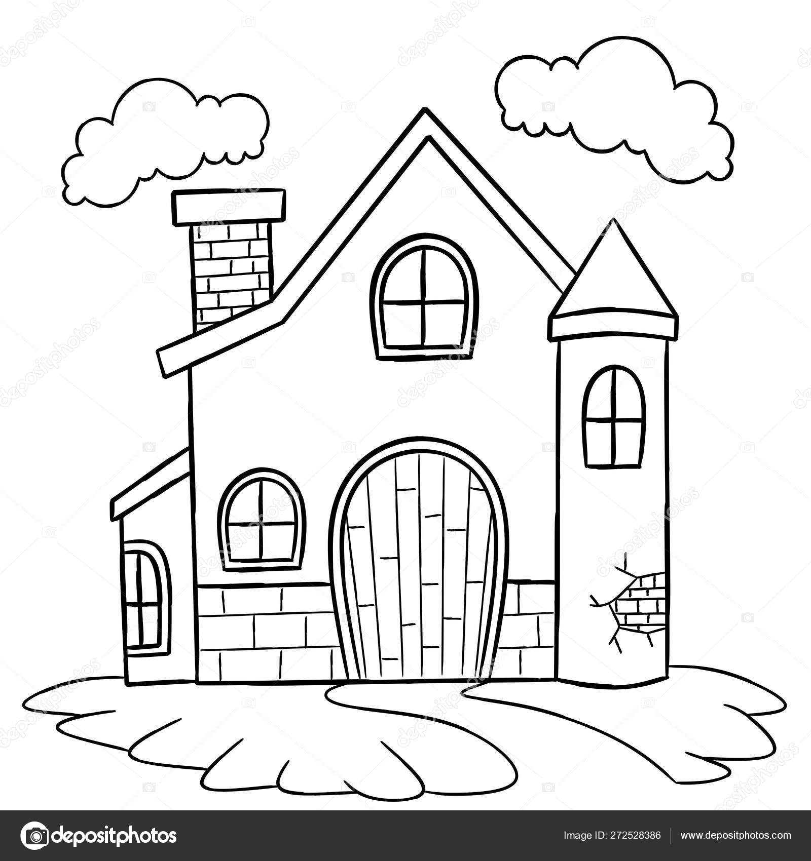 coloring pages houses house coloring page children stock vector dennyranch pages houses coloring