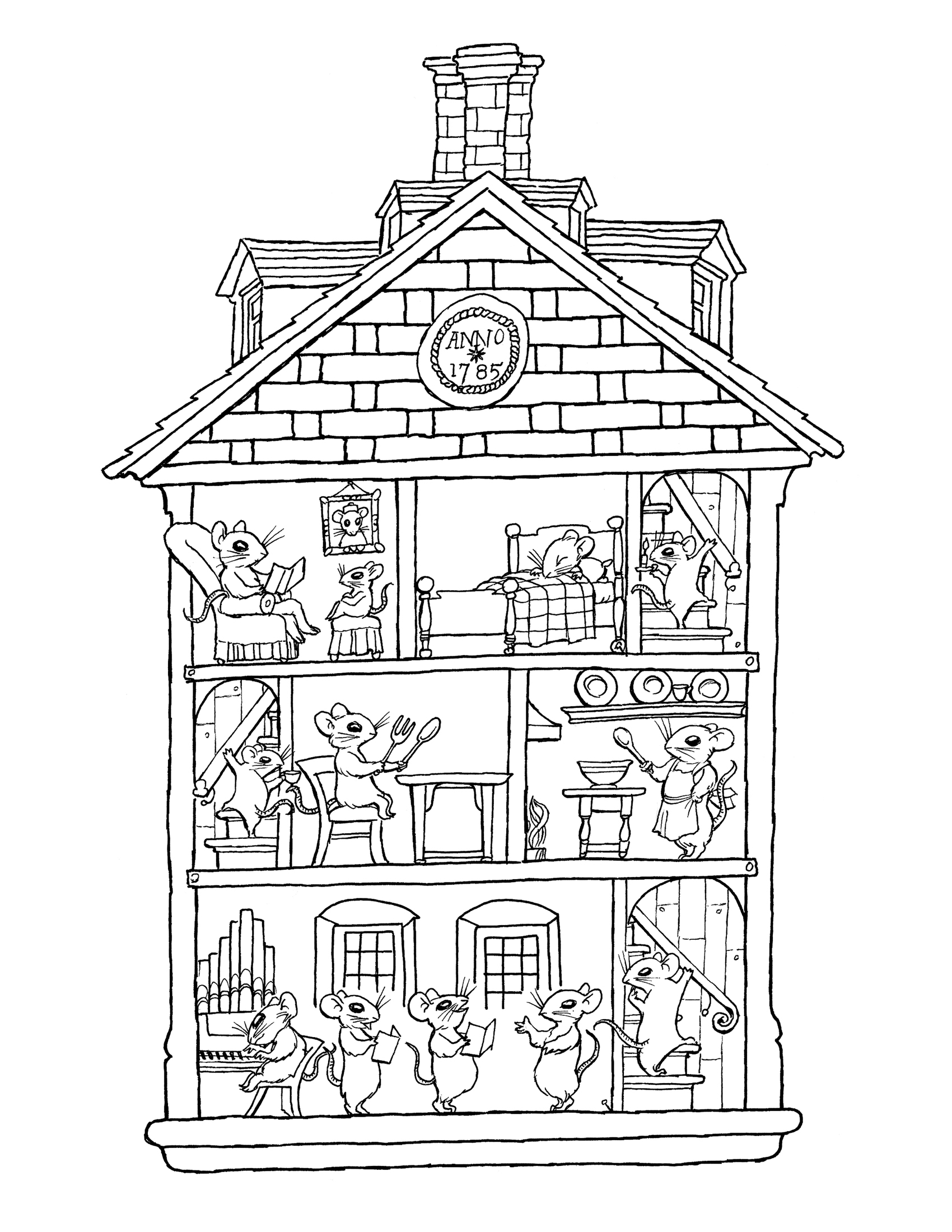 coloring pages houses inside a house drawing at getdrawings free download pages houses coloring