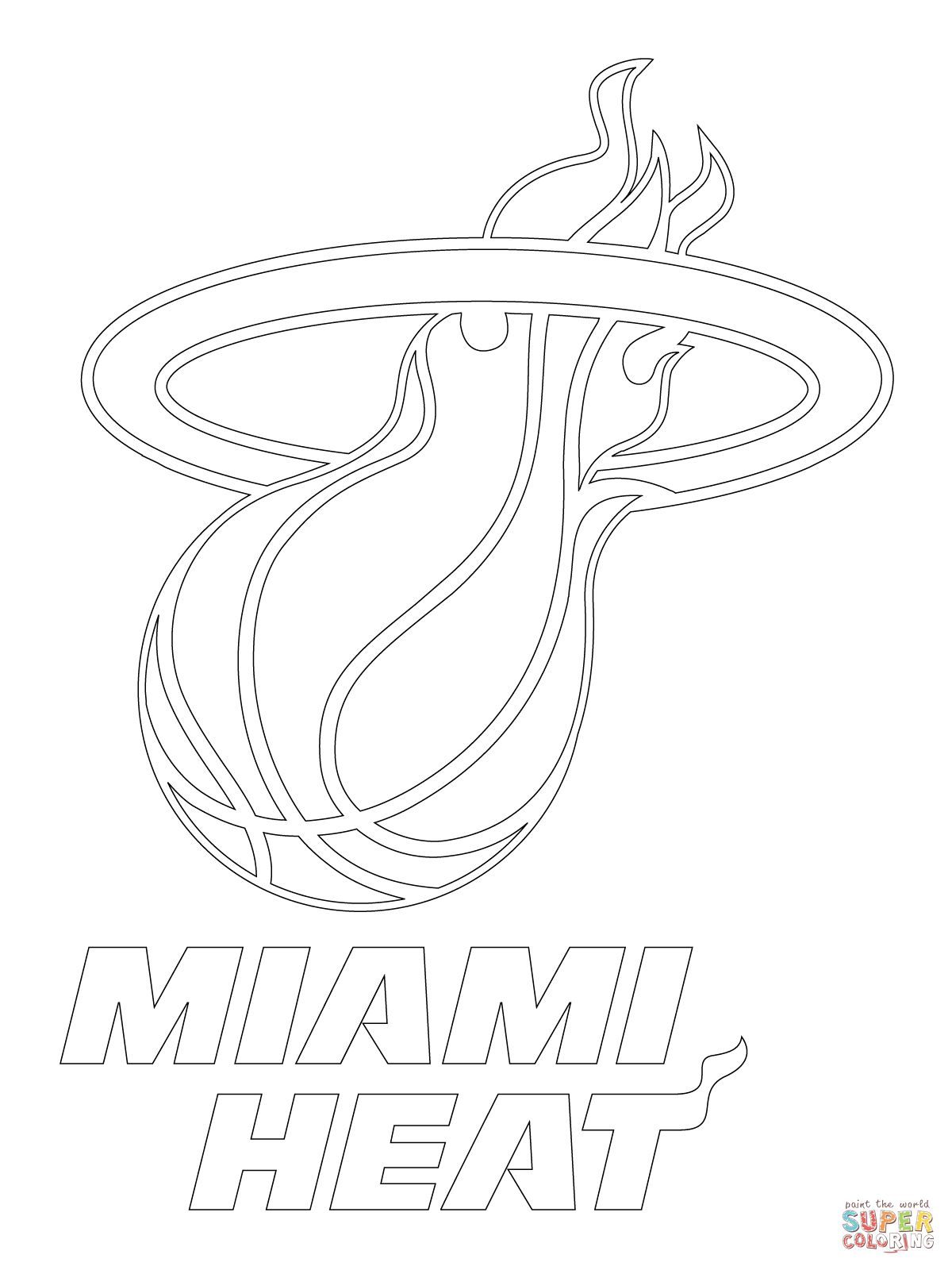 coloring pages sports logos miami heat logo coloring page supercoloringcom miami logos pages sports coloring
