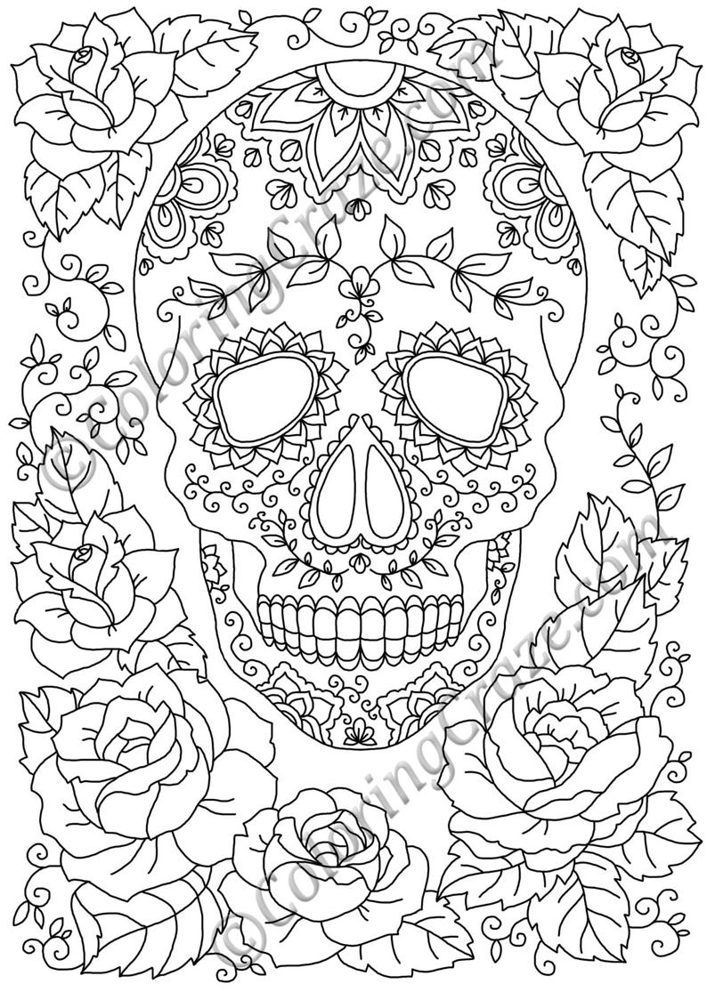 coloring printable day of the dead day of the dead coloring page 12 digital printable pdf etsy dead day coloring the printable of