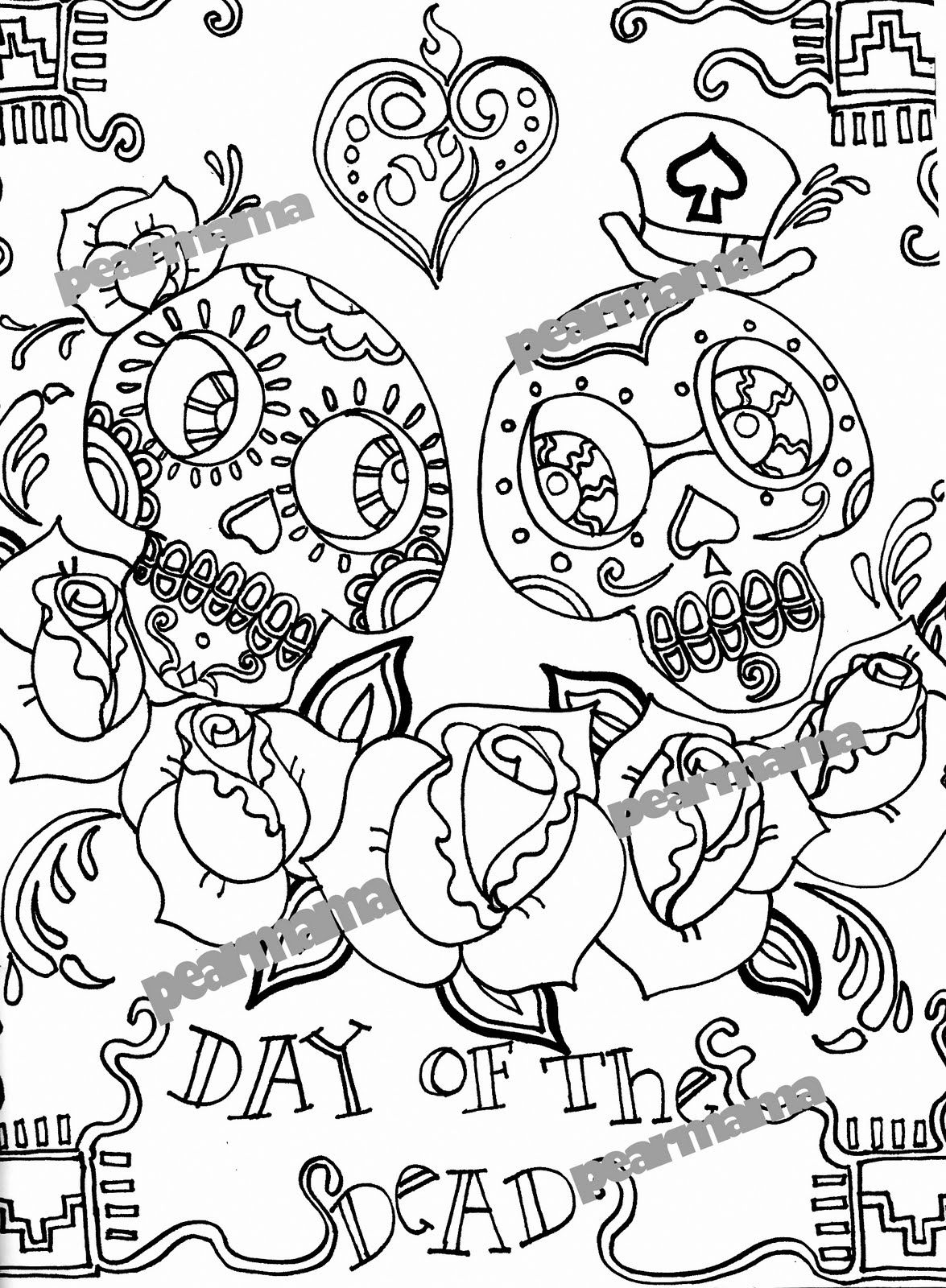 coloring printable day of the dead day of the dead printable coloring pages coloring pages coloring printable day the dead of