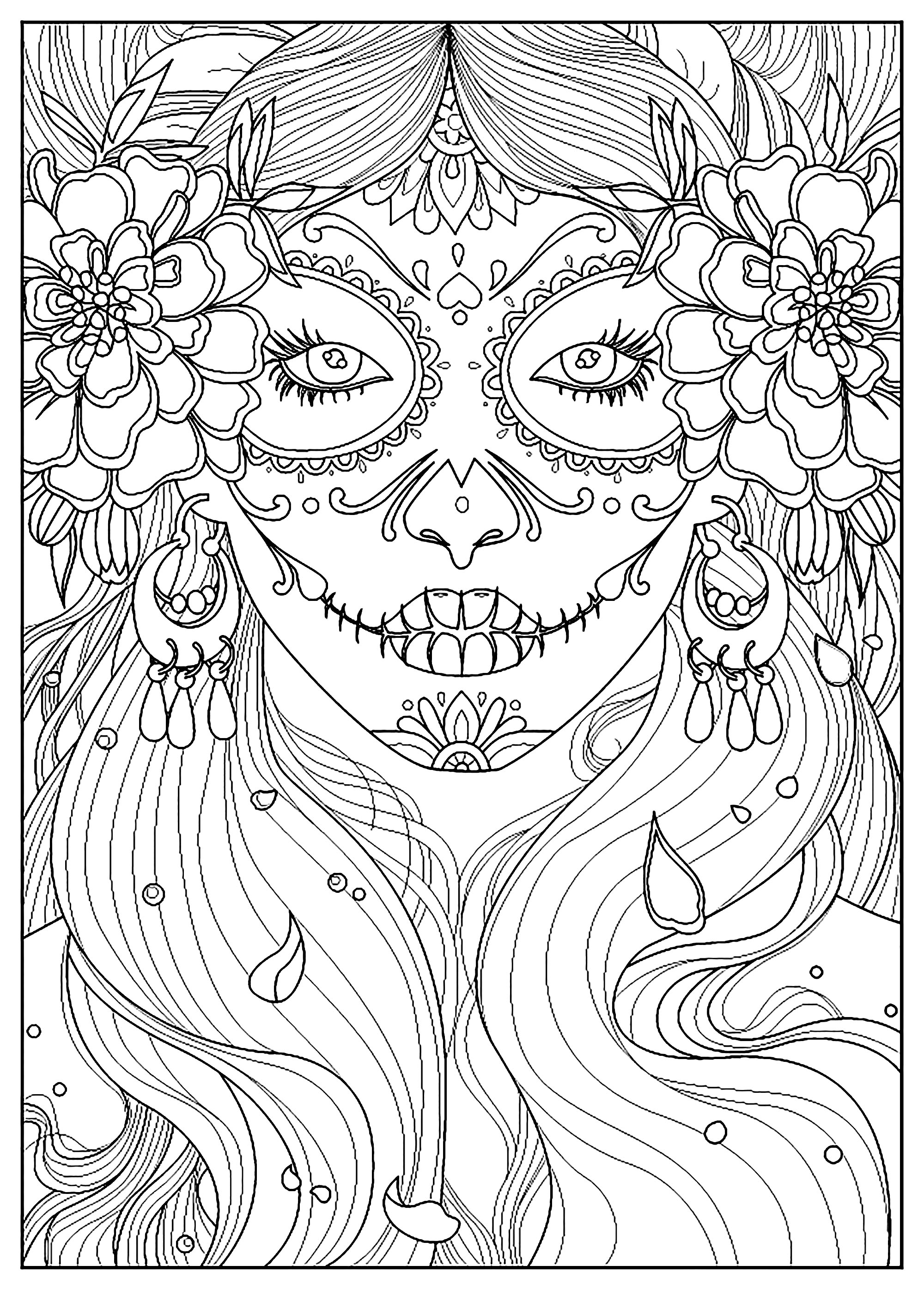 coloring printable day of the dead skull coloring pages for adults the printable day dead coloring of