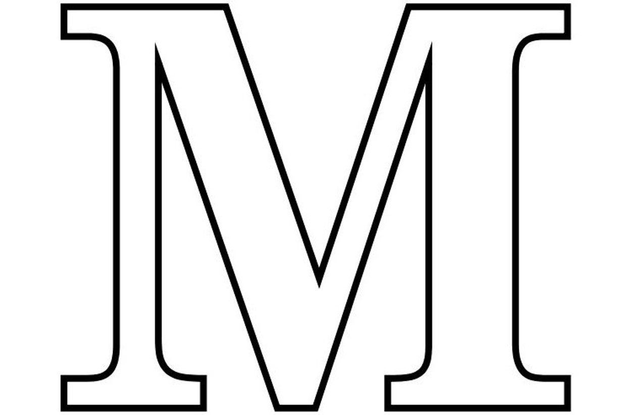 coloring printable m letter images letter m outline free download on clipartmag m coloring letter printable images