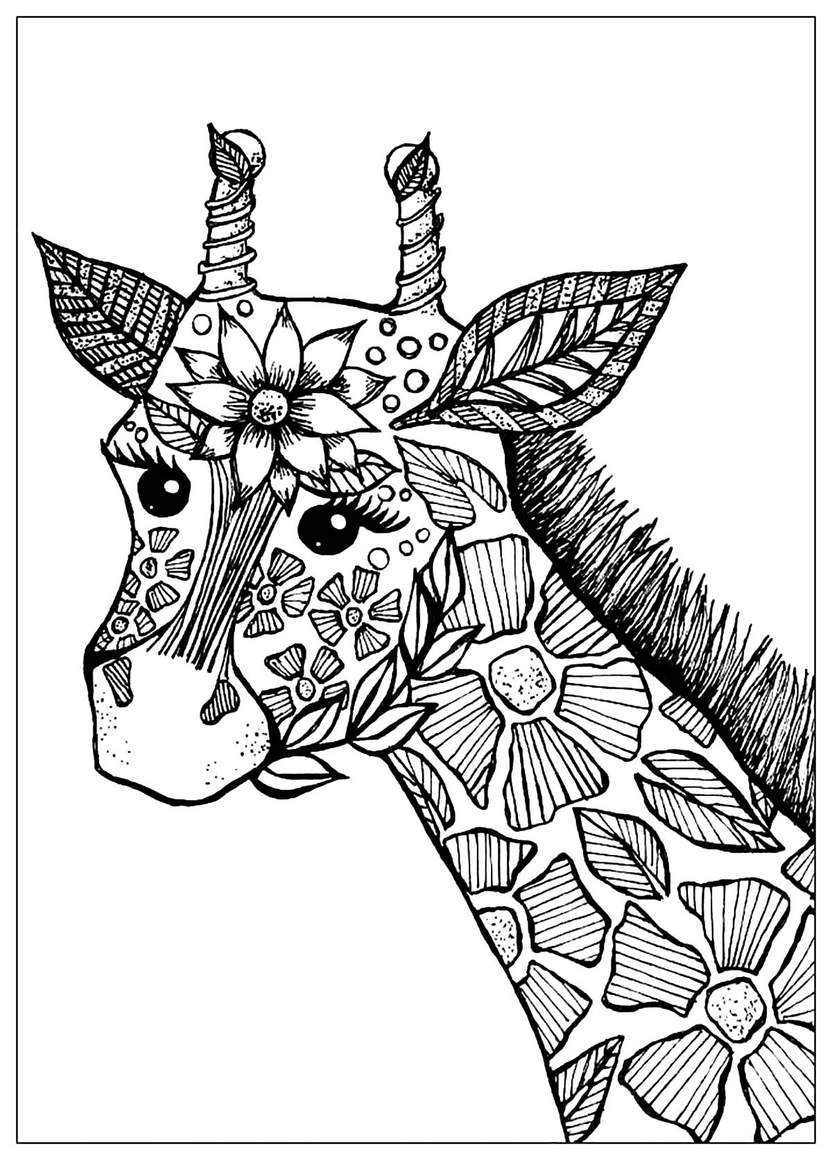 colouring pages of giraffe giraffe head with flowers giraffes adult coloring pages of colouring pages giraffe
