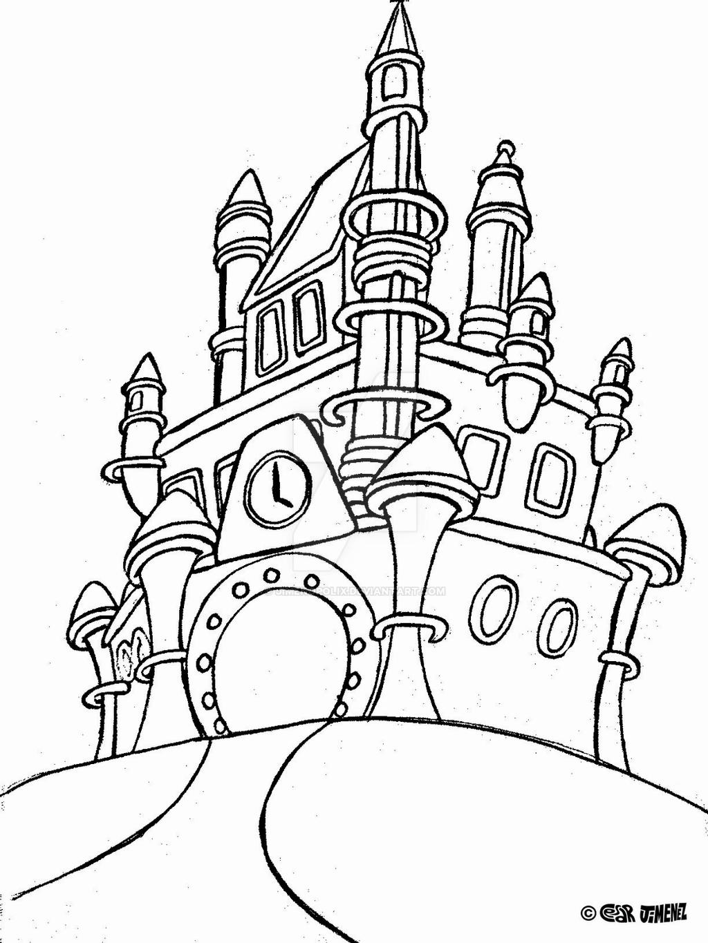 disney castle coloring page jimenopolix disney world castle by jimenopolix on deviantart castle coloring page disney