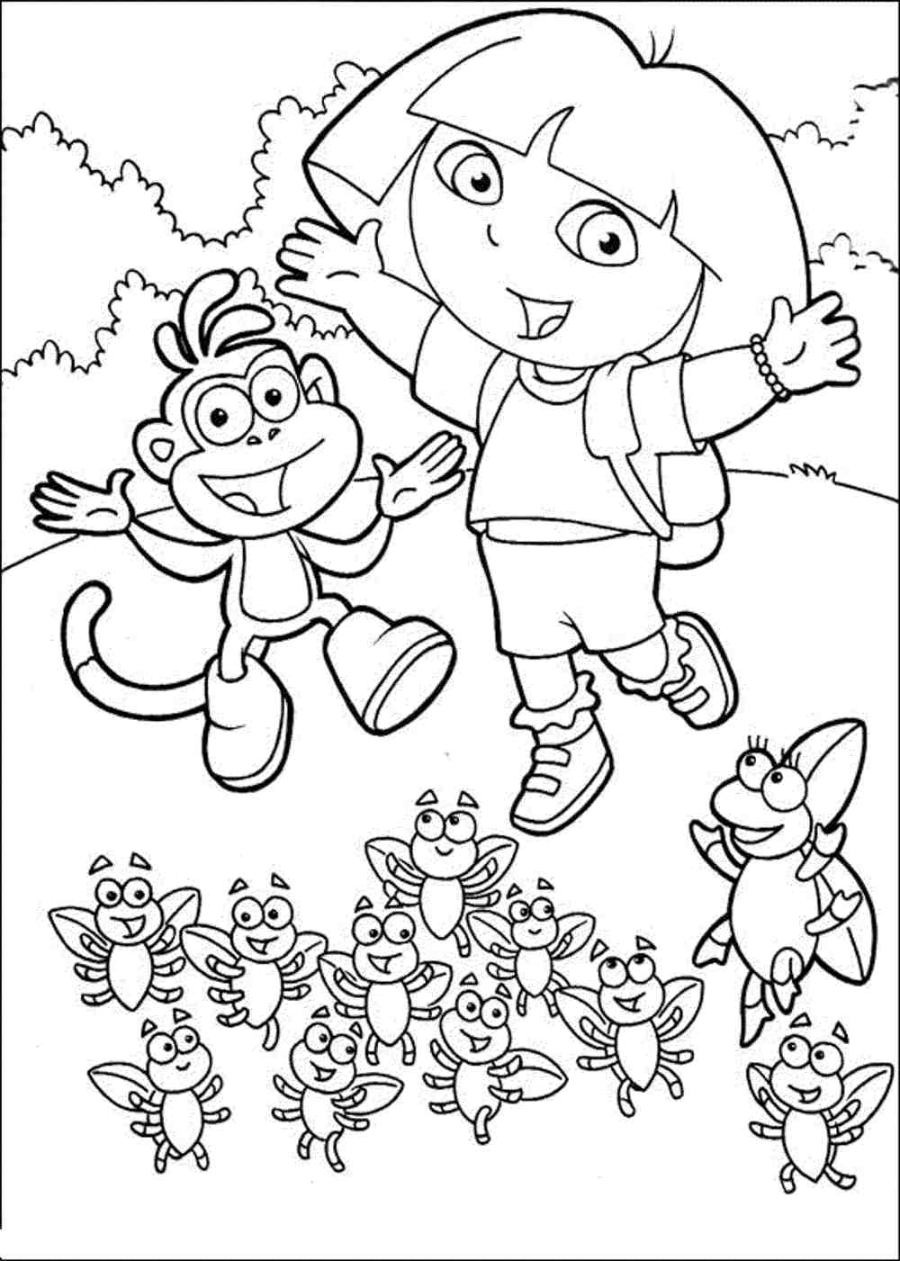 dora colouring pages dora coloring pages backpack diego boots swiper print dora colouring pages