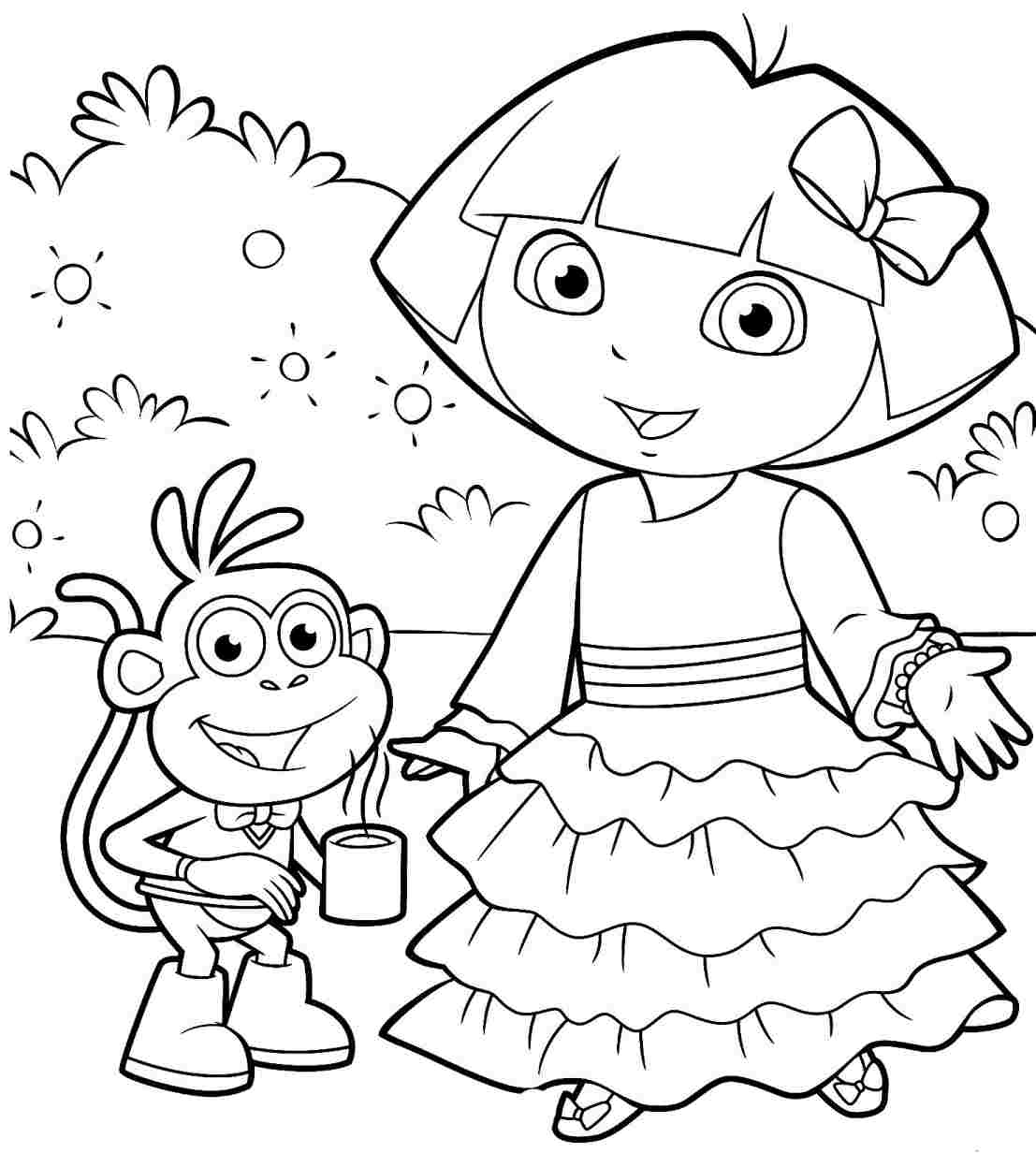 dora colouring pages dora coloring pages games at getdrawings free download dora colouring pages